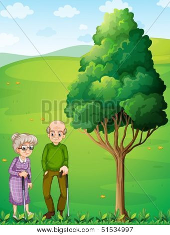 Illustration of the two grandparents at the hill near the tree