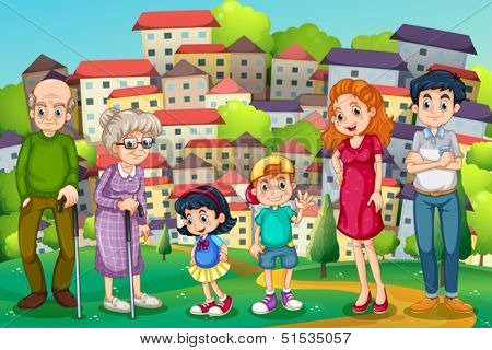 Illustration of a family at the hilltop across the neighborhood