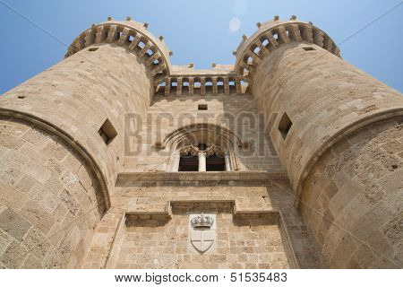 Symbol of Rhodes, of the famous Knights Grand Master Palace in the Medieval town of Rhodes, Greece