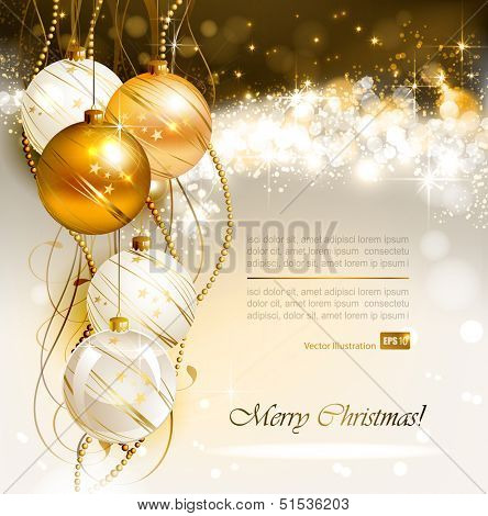 bright Christmas background with gold and white evening balls