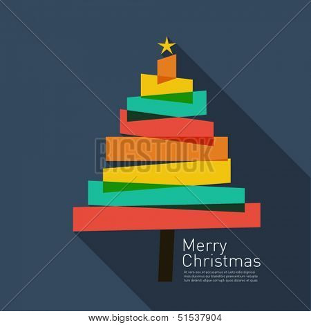 Christmas tree background in flat design style with Merry christmas writing