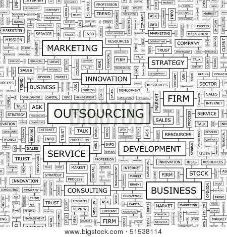 OUTSOURCING. Concept vector illustration. Word cloud with related tags and terms. Graphic tag collection. Wordcloud collage.