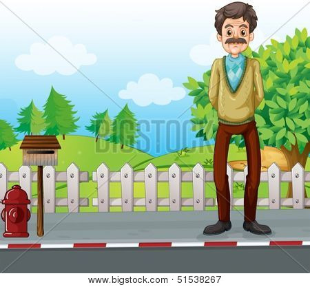 Illustration of an old man at the roadside standing near the mailbox