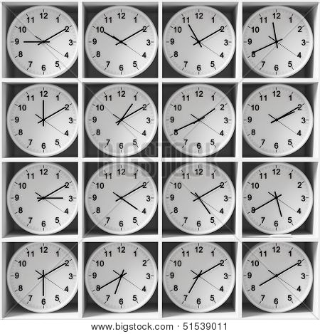 clocks on the white shelves, showing different time zones