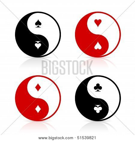 Yin-Yang symbols with card suits
