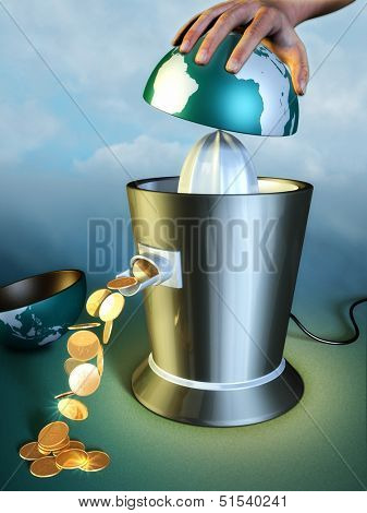 Earth resources are squeezed out using a juicer. Digital illustration.