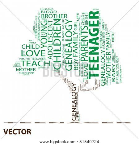 Vector eps concept or conceptual green teenager text word cloud or tagcloud as a tree isolated on white background
