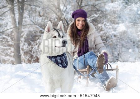 Wintertime fun with dog