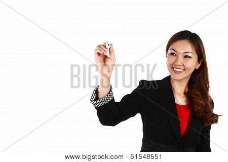Asian Businesswoman Drawing Graph, Isolated On White Background In Suit.