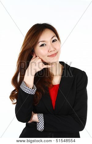 Portrait Of Young Asian Business Woman On The Phone, Isolated On White Background