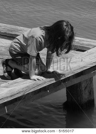 Girl Looking Into Water   Black And White.