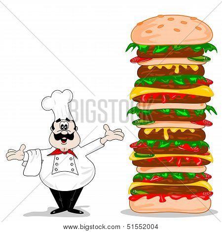 A cartoon chef with cheeseburger