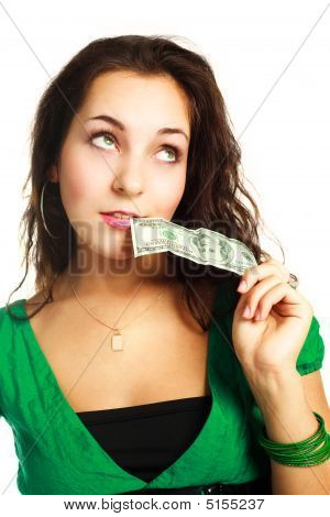 Dreamy Woman With One Nudred Dollars