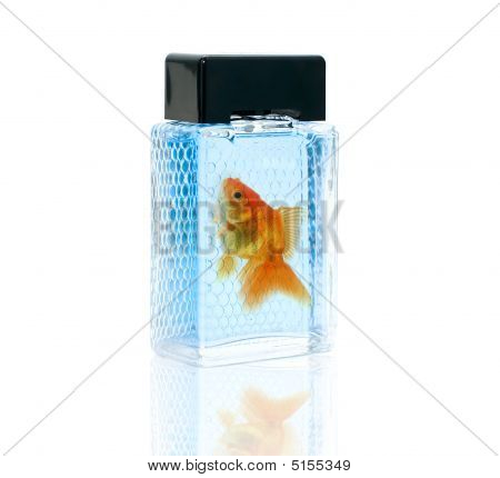 Perfume Bottle With Gold Fish