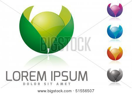 Glossy sphere surrounded by leaves vector illustration