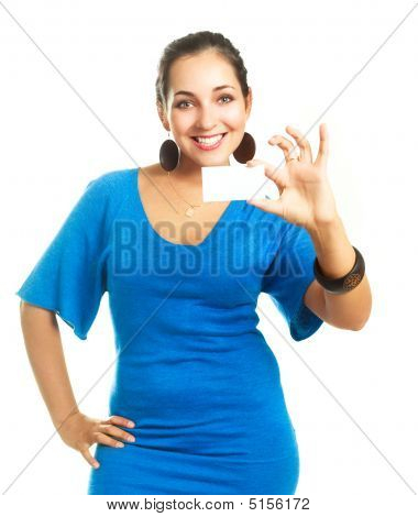 Woman Showing Us A Business Card