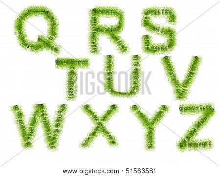Grass Letters Q, R, S, T, U, V, W, X, Y, Z