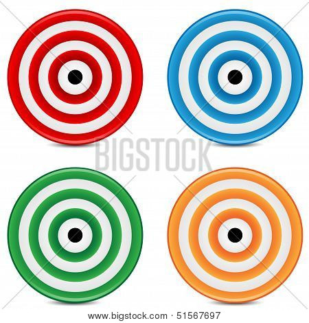 Set Of Varicoloured Targets On A White Background