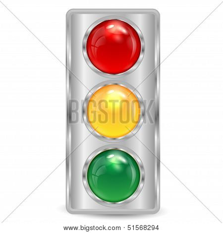 Traffic-light Of Silvery Color On A White Background