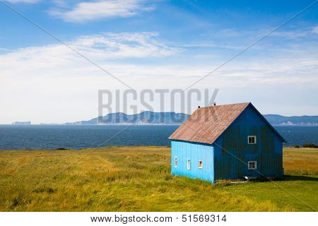 Old hut near ocean