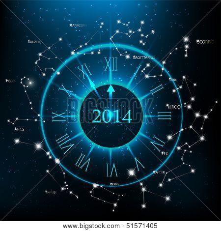 Horoscopes zodiac clock, New Year 2014 abstract background. Raster version.