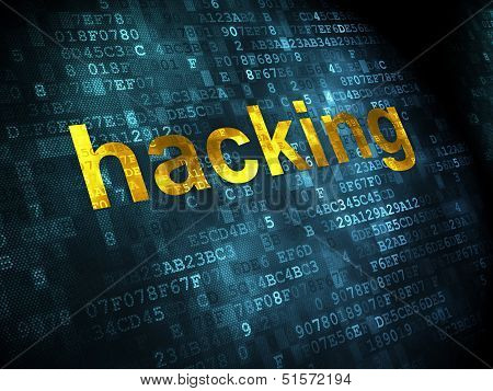 Privacy concept: Hacking on digital background
