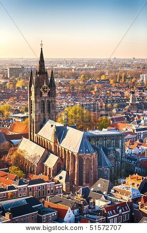 Oude Kerk - The Old Church In Delft, Holland