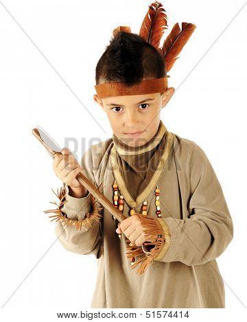 "Closeup of an elementary ""Indian"" with his tomahawk."