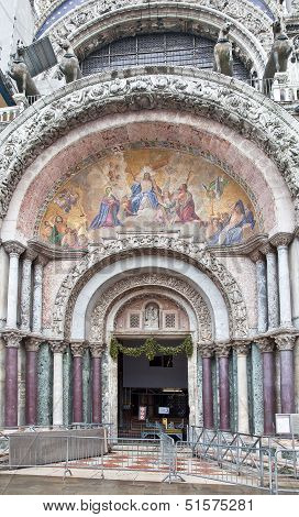 Cathedral Of Saint Mark. Mosaic Of Facade. Appearance Of Christ The Judge