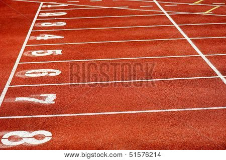 Eight Runner Tracks In A Sport Stadium