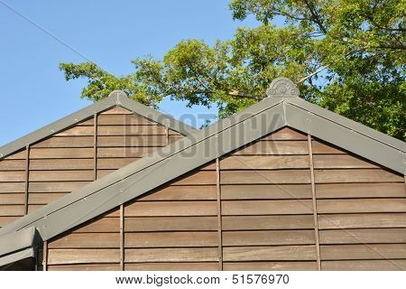 Wooden roof of building, shot at Luodong Forestry Culture Garden, Yilan county, Taiwan.