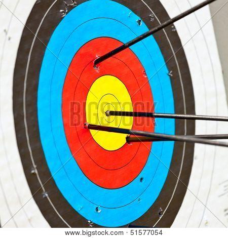 Archery target with arrow in the bullseye