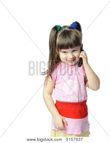 Little Girl With A Mobile Phone