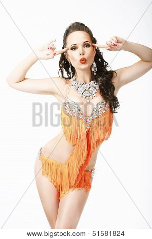 Clubbing. Latin Woman Entertainer In Stage Clubwear