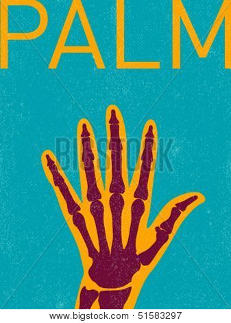 vector x-ray hand - retro illustration