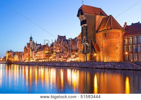 Old town of Gdansk with ancient crane at night, Poland