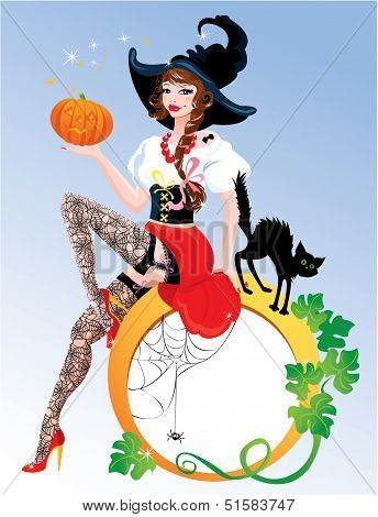 Brunette Pin Up Halloween Girl Wearing Witch Suit And Stockings Carrying Pumpkin With Black Cat. Rou