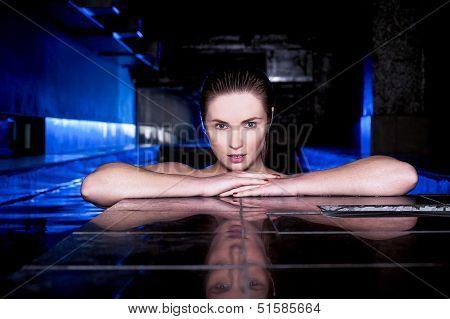 Beautiful Woman Relaxing In A Jacuzzi Bathtub