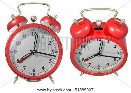 Red Alarm Clock - Angle 3 And 4. 3D Render