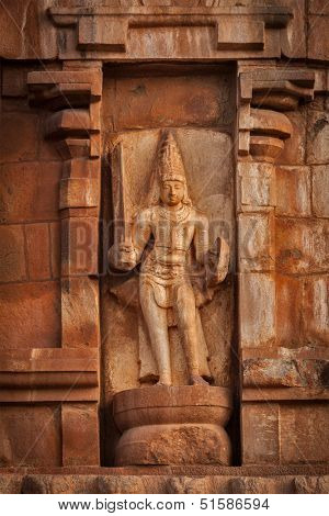 Ancient bas relief. Brihadishwara Temple. Tanjore (Thanjavur), Tamil Nadu, India. Great Living Chola Temples - UNESCO World Heritage Site