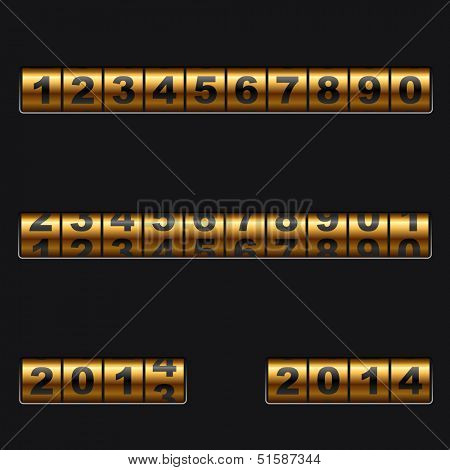 Out-dated mechanical golden counter vector template. Easy to edit and combine any numbers.