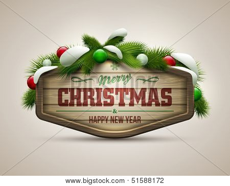 Vector realistic illustration of wooden christmas message board. Elements are layered separately in vector file.