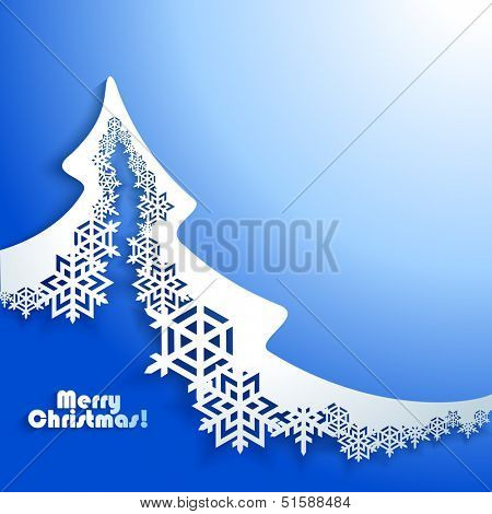 Abstract Christmas winter Background with paper christmas tree