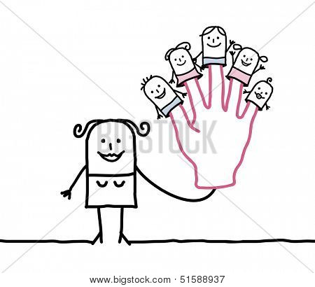 mother with five puppets children on fingers