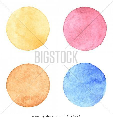 Watercolor circles collection. Watercolor stains set isolated on white background. Watercolor palette of yellow ocher, pink, sepia and aquamarine blue