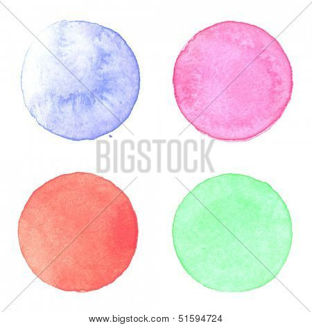 Watercolor circles collection. Watercolor stains set isolated on white background. Watercolor palette of light blue, magenta, red and emerald green paint
