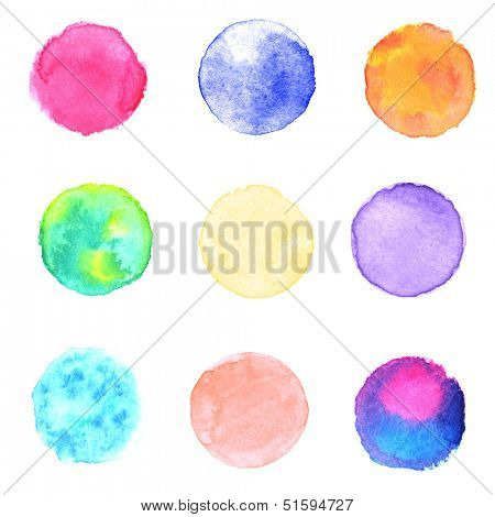 Watercolor circles collection. Watercolor stains set isolated on white background. Watercolor techniques - wet in wet.