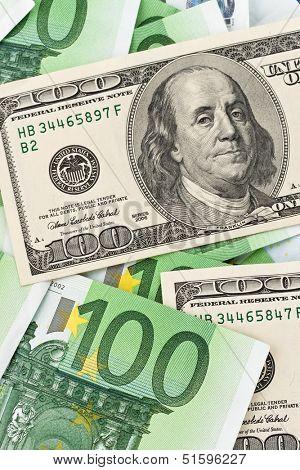 dollar and euro banknotes. euro dollar symbol differences