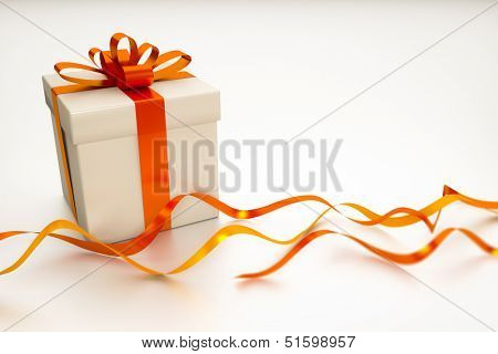 A gift box with red ribbon on a white background with space for your content