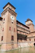pic of ferrara  - Clock on Estense Castle - JPG